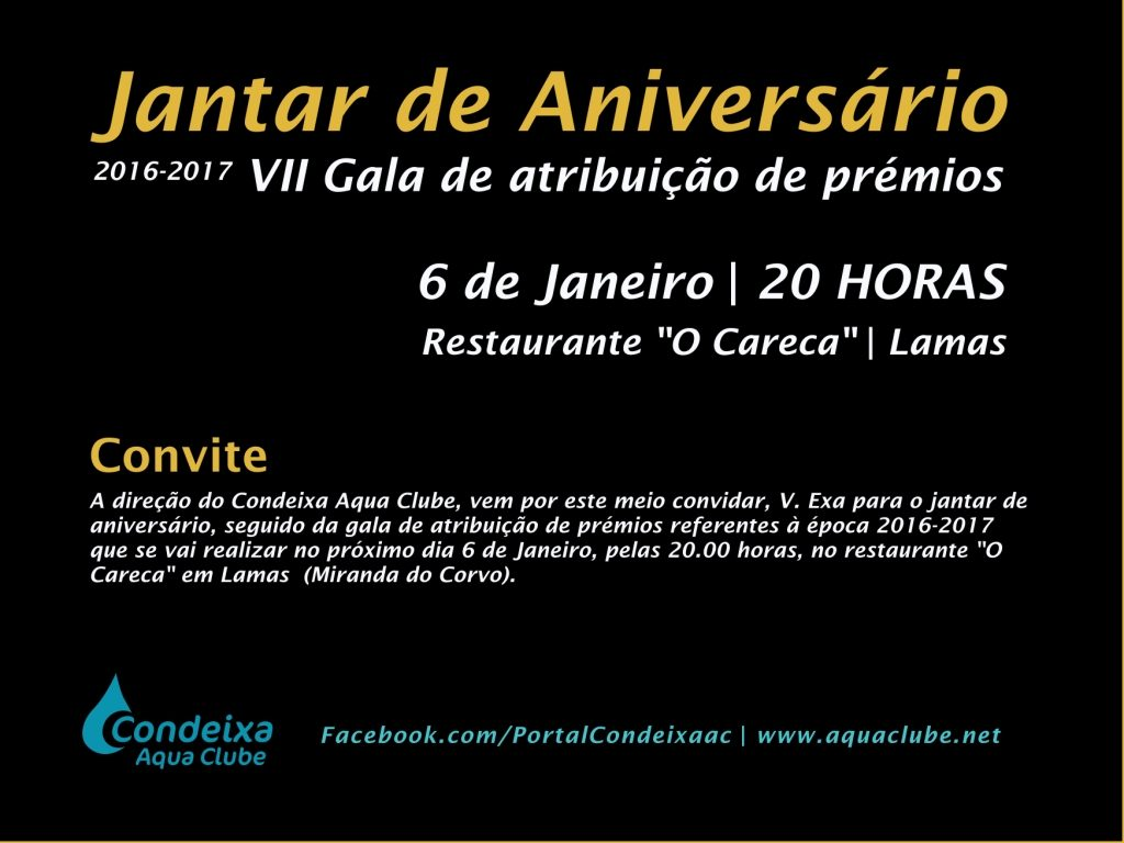 Jantar de Aniversário. Gala entrega de prémios época 2016-2017